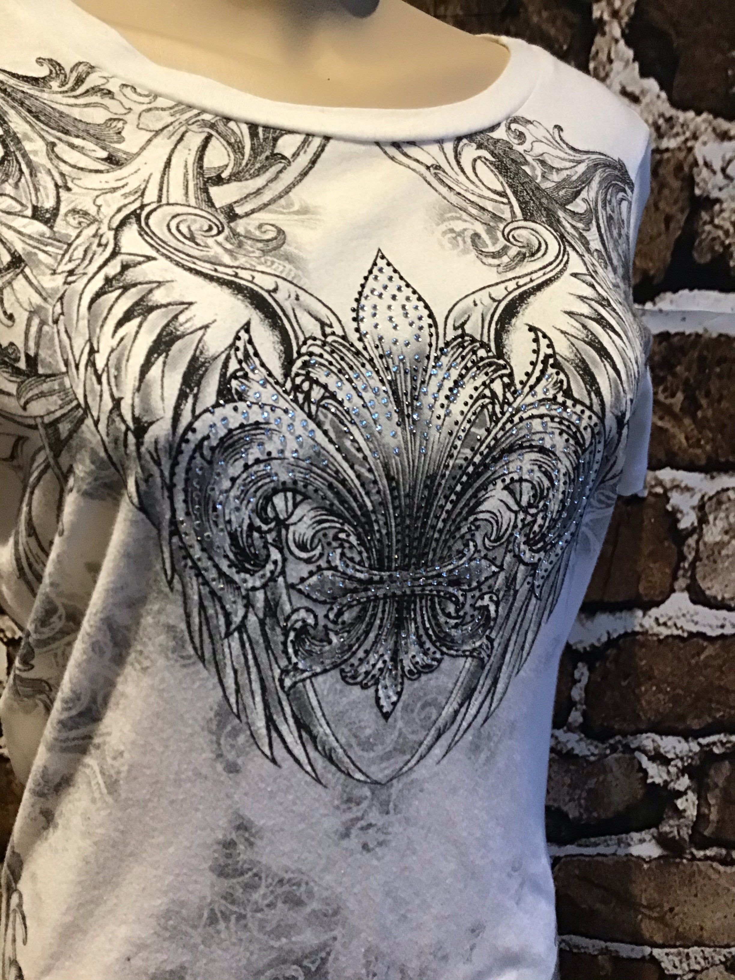 Last one white tattoo wing rhinestone front and back size large