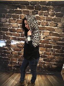 Cheetah Leopard Print & Buffalo Plaid Hoodie with thumb Holes