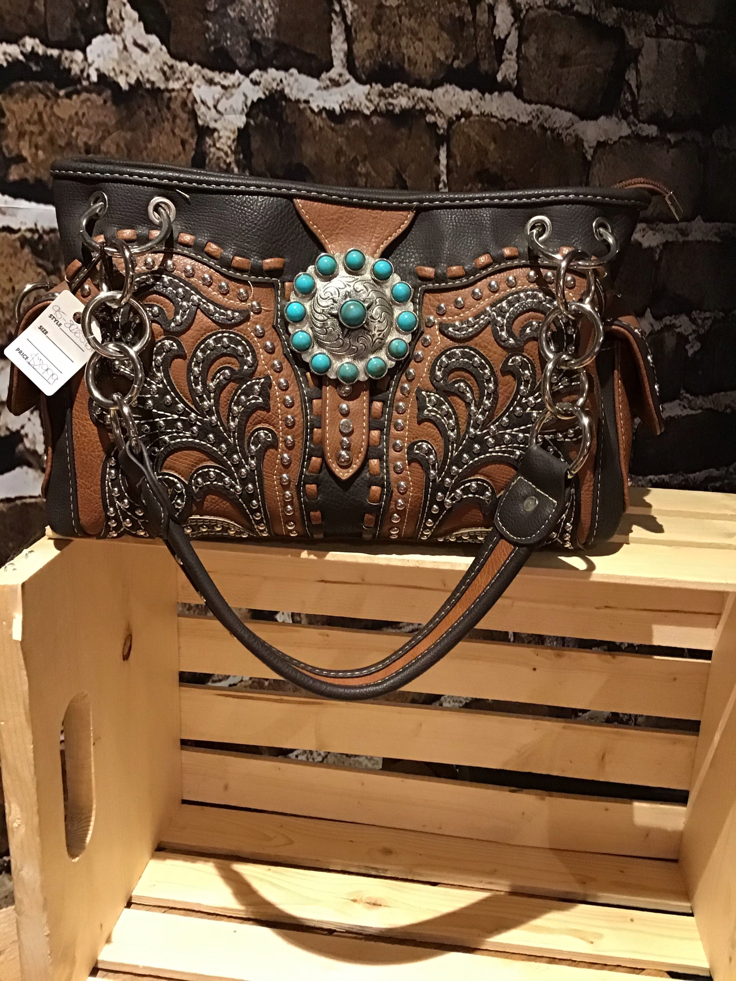 Western Brown with teal Purse Buckle Jewel style shoulder bag purse handbag Gorgeous