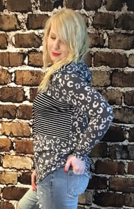 Long-sleeved leopard Hoodie with stripes Grey With Black