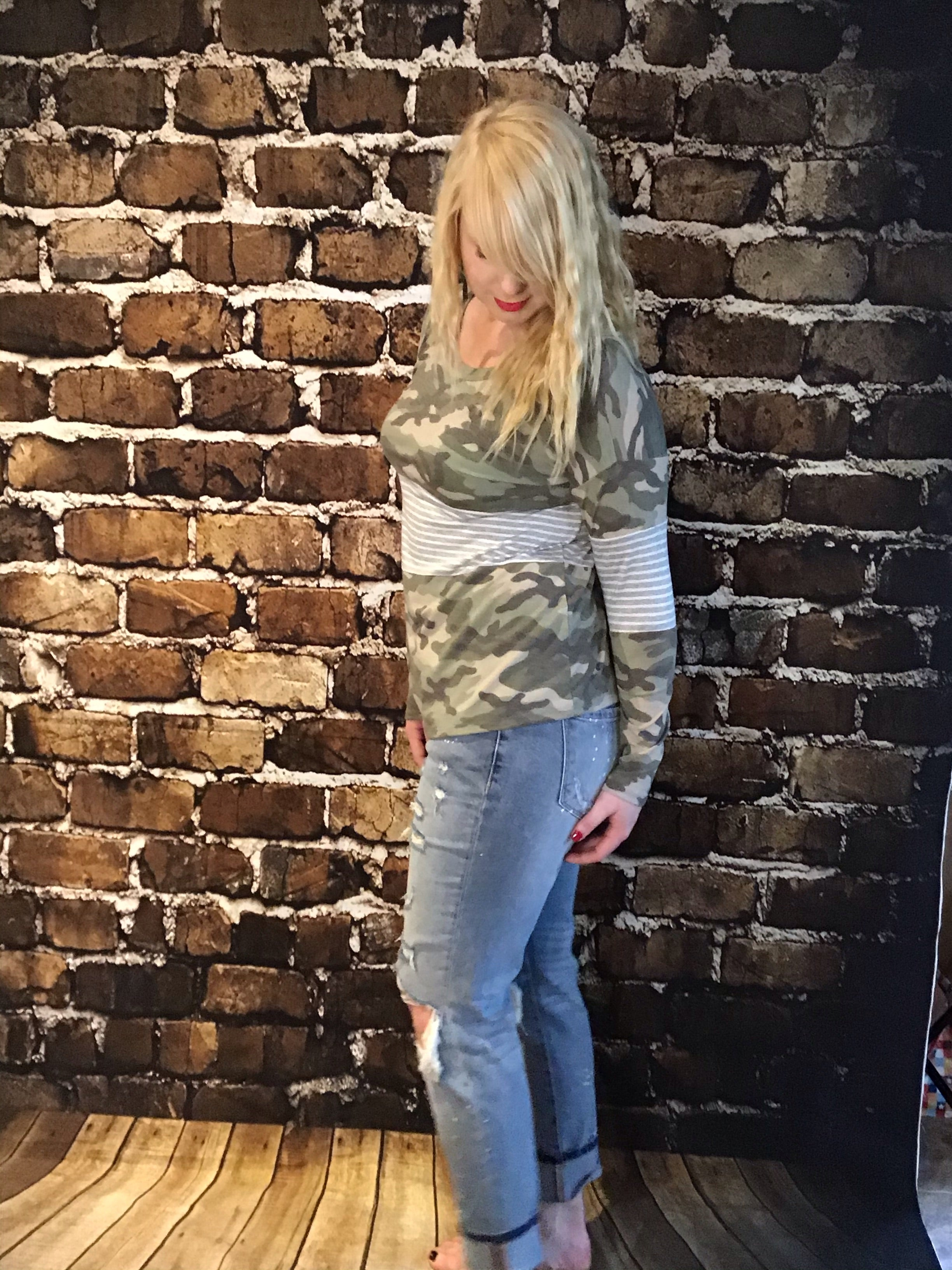 Trendy camo Camouflage long sleeve made with high-quality Olive Camo