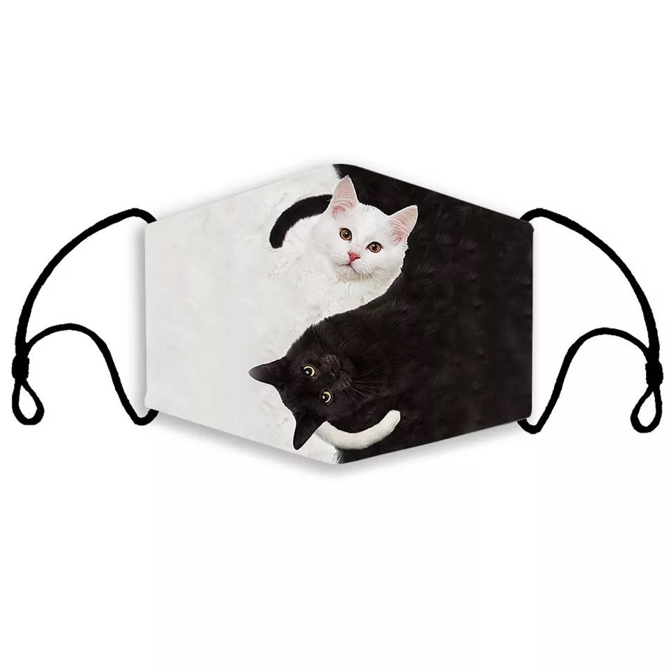 Black and white Kitty Cat Face Mask