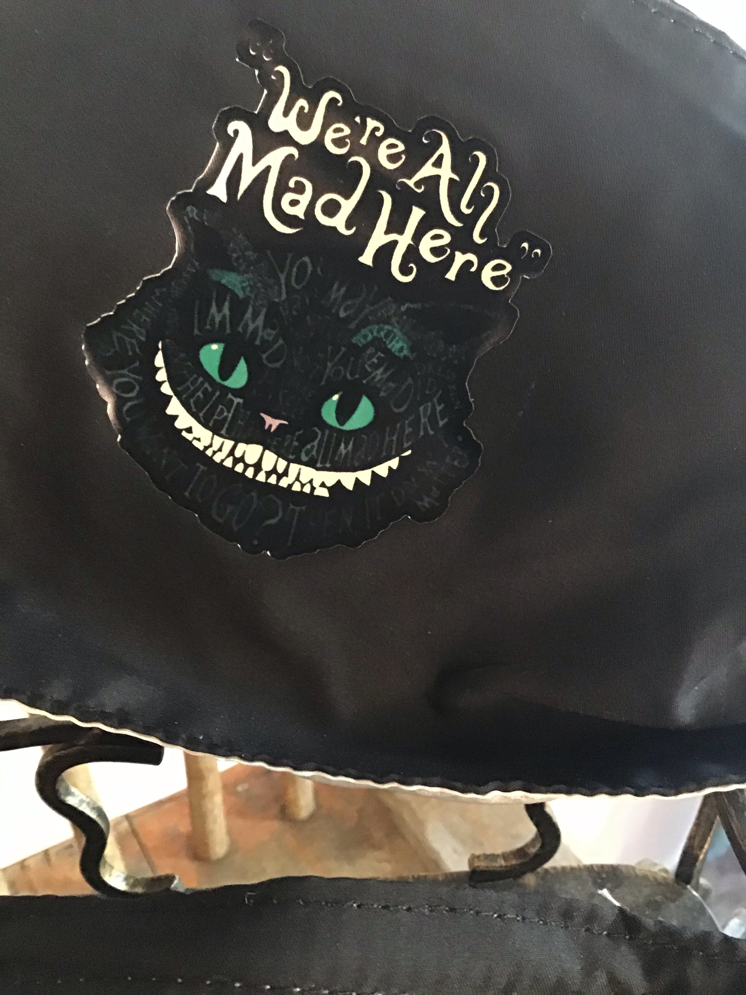 Face Mask Cheshire cat Green Print Alice in Wonderland We're all Mad here Face Mask