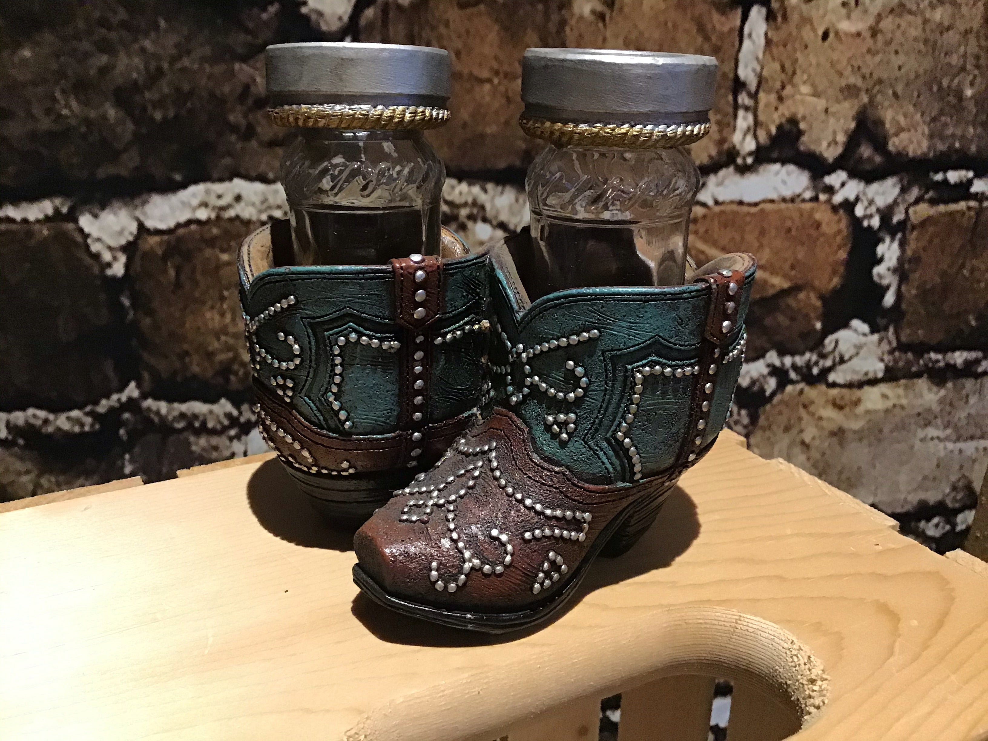 Western Cowboy Boot  with Teal Blue Salt & Pepper Shaker