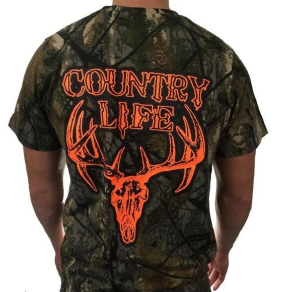 Mens Fashion top Country life t-shirt Longhorn deer skull Camouflage  Realtree Deer Skull Head Hunt Vintage