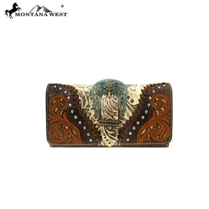 Western Buckle Trifold Clutch Wallet