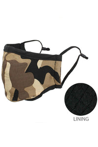 Camouflage reusable double layer adjustable lining mask