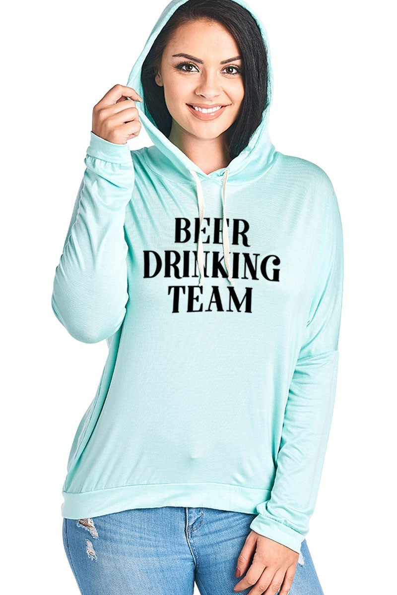 BEER DRINKING TEAM LONG SLEEVE HOODIE **PLUS SIZE**