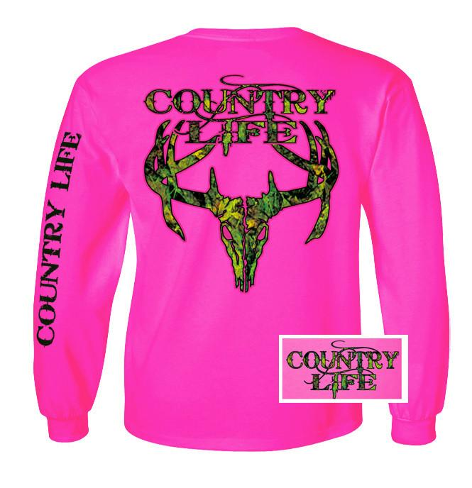 Country life Long sleeve  Unisex HOT PINK with Camouflage lime green long sleeve shirt