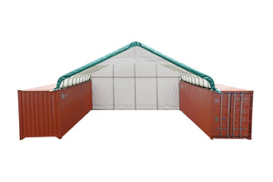 Pro Series 30' x 40' Container Shelter with Heavy Duty 17oz PVC Fabric, Enclosed Rigid End-wall and Partial Front Drop