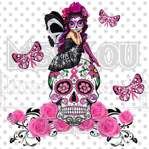 Breast Cancer Sugar Skull Digital Download