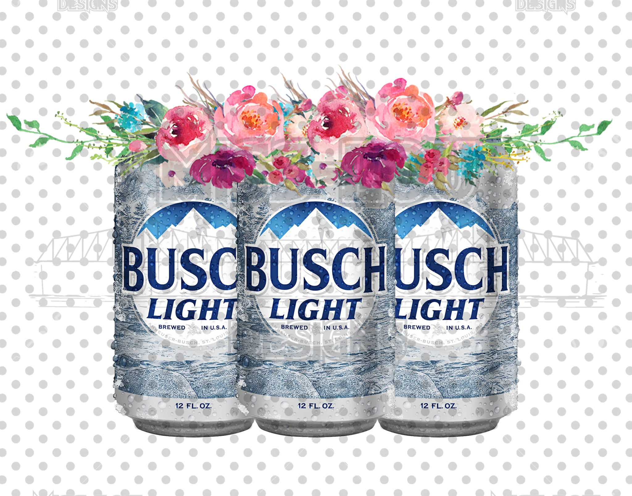 Busch Light with Flowers Digital Download