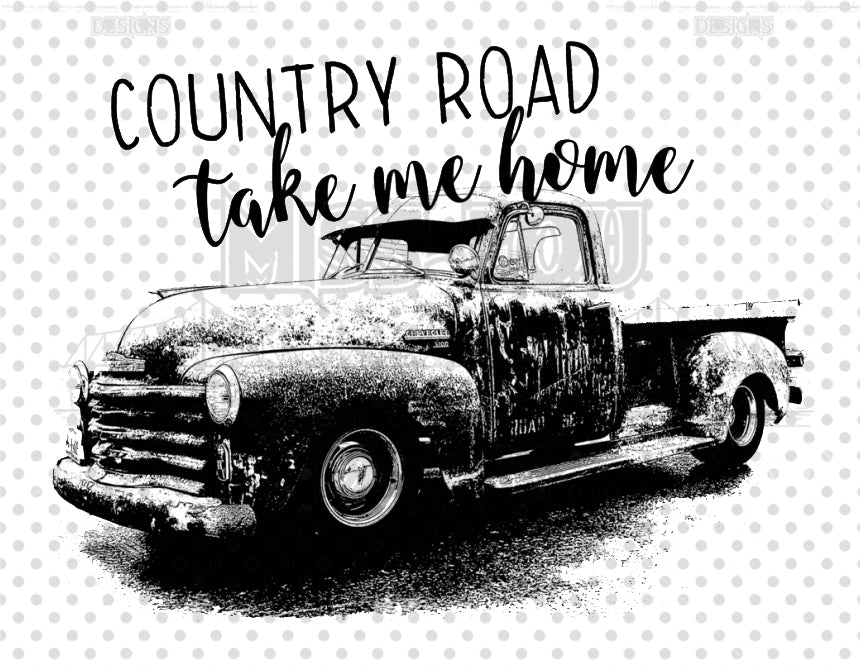 Country Roads Black Truck Digital Download