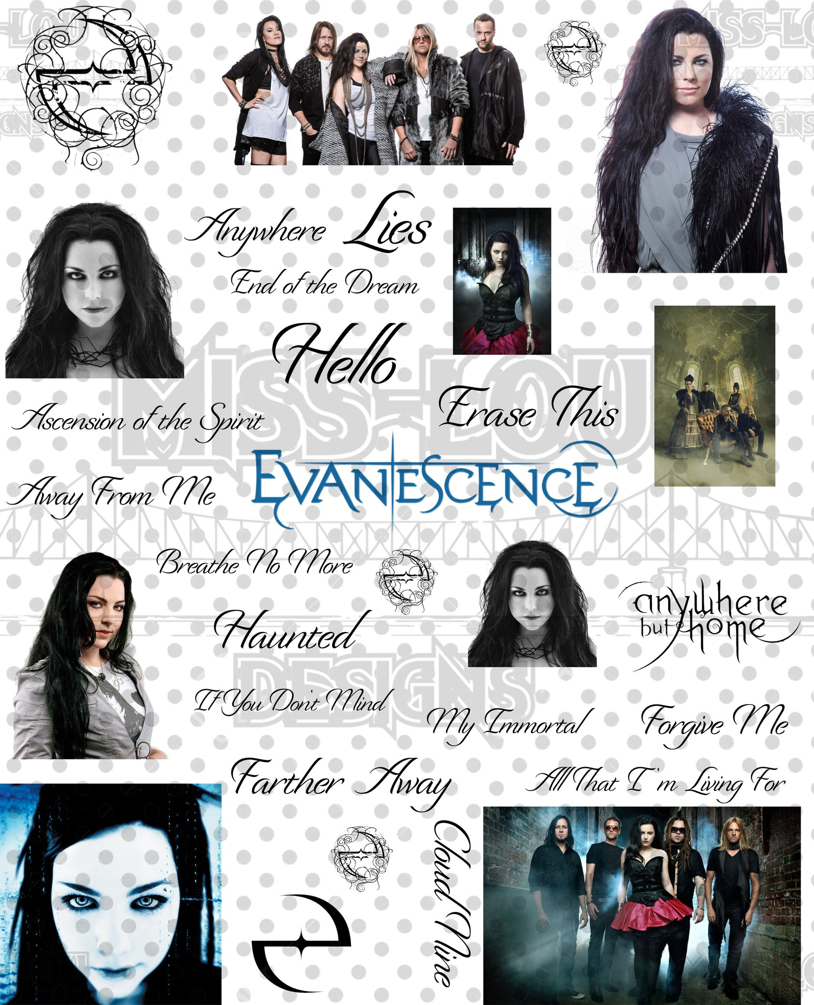 Evanescence Fan Sheet Digital Download