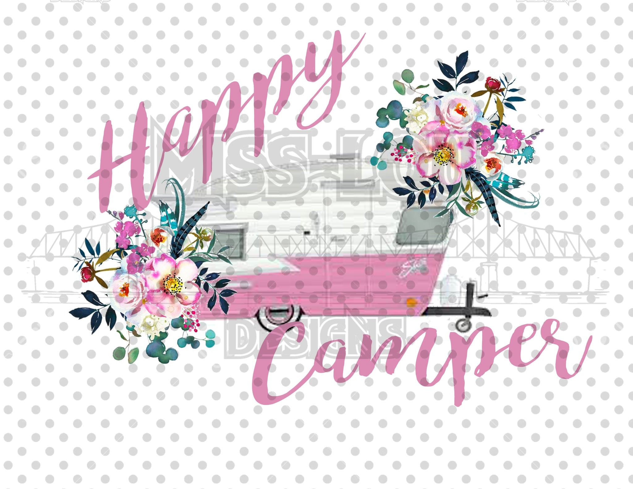 Happy Camper Pink Digital Download