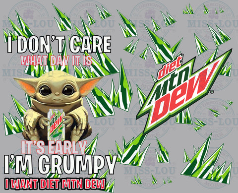 Baby Yoda  Diet Mt. Dew  Full Sheet Waterslide