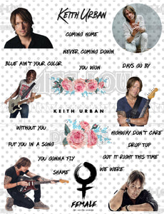 Keith Urban Fan Sheet Digital Download