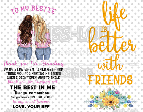 Life is better with Friends 2 Piece Set Digital Download