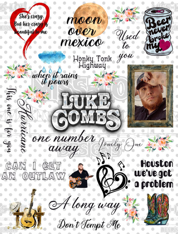 Luke Combs Fan Sheet  Waterslide