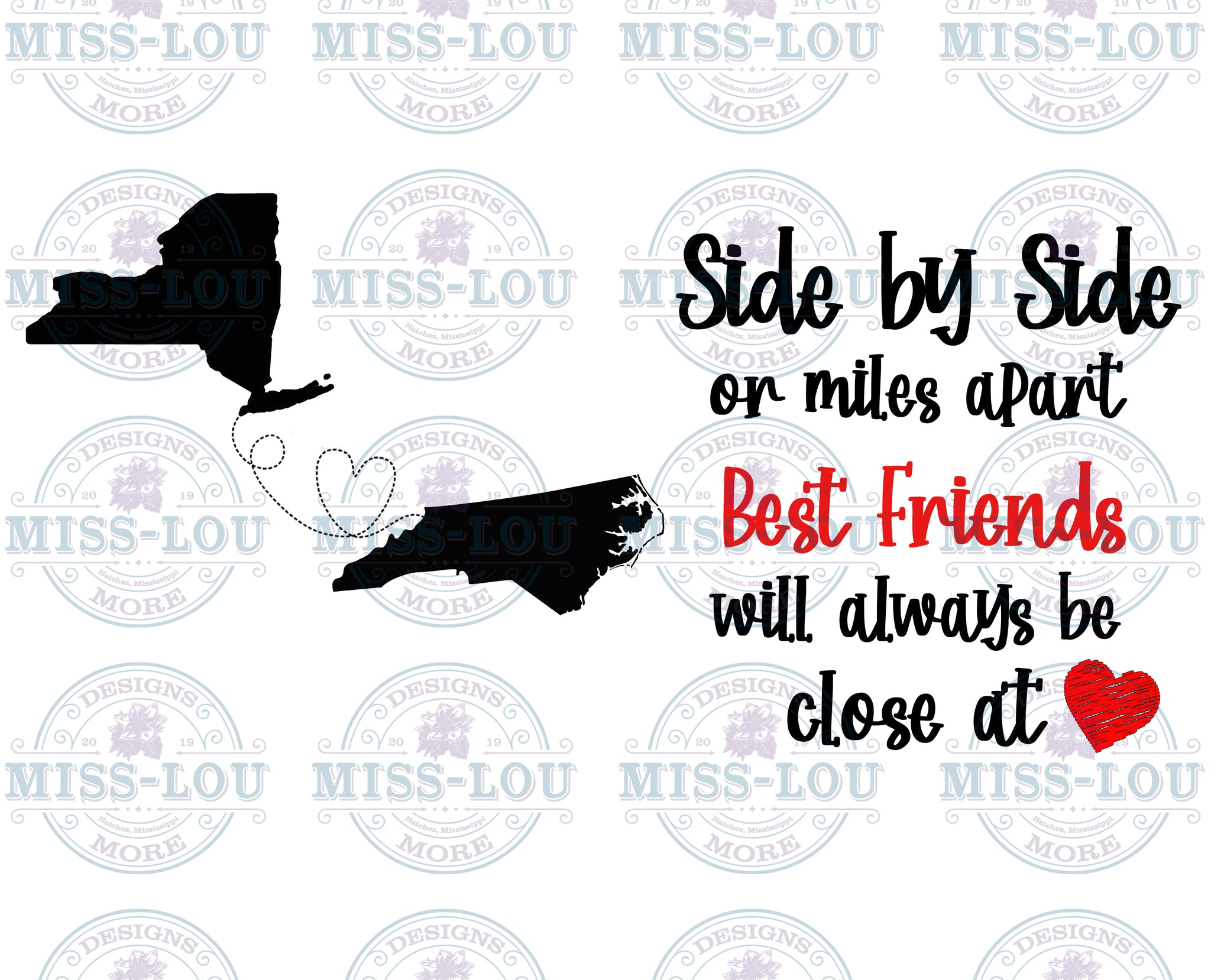 Side By Side Best Friends: New York/North Carolina Digital Download