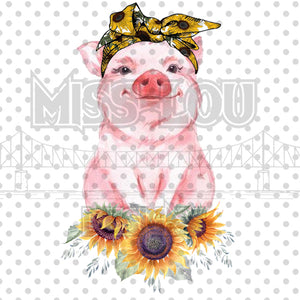Sunflower Pig Digital Download