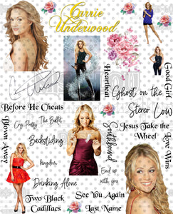 Carrie Underwood v2 Fan Sheet Waterslide