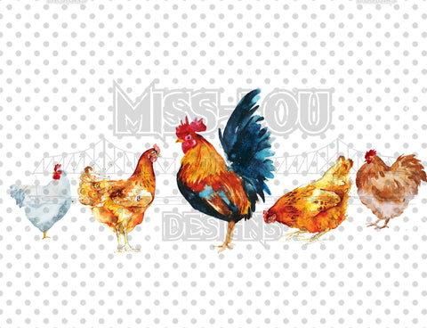 Watercolor Chickens in a Row Digital Download