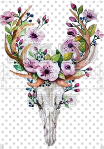 Deer Skull with Purple Flowers Waterslide