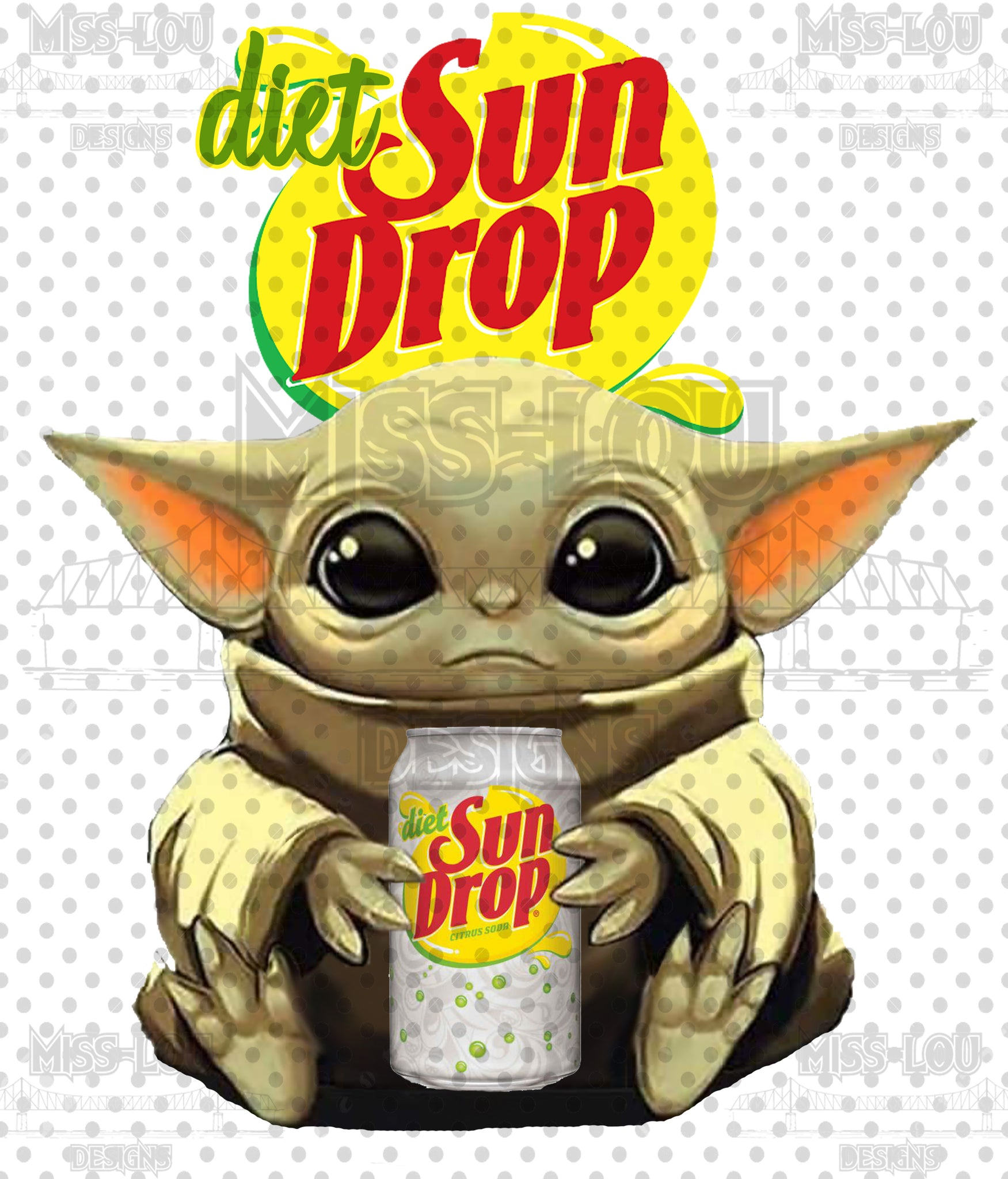Diet Sun Drop Baby Yoda Waterslide