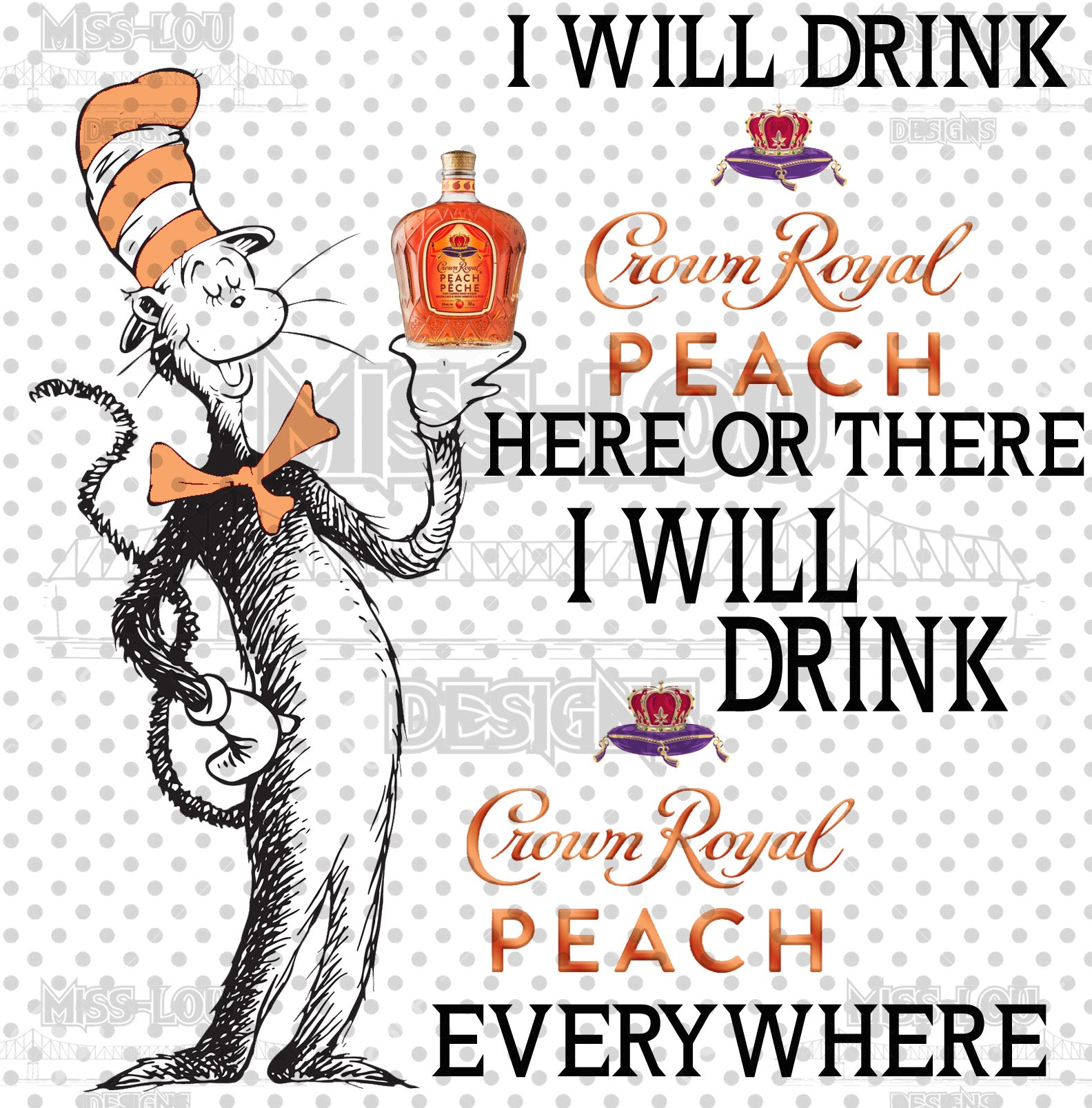 Cat In The Hat Crown Royal Peach Waterslide