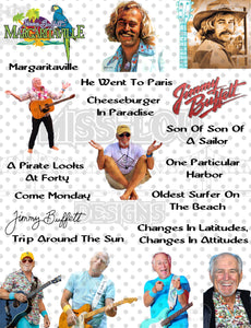 Jimmy Buffet Fan Sheet Digital Download