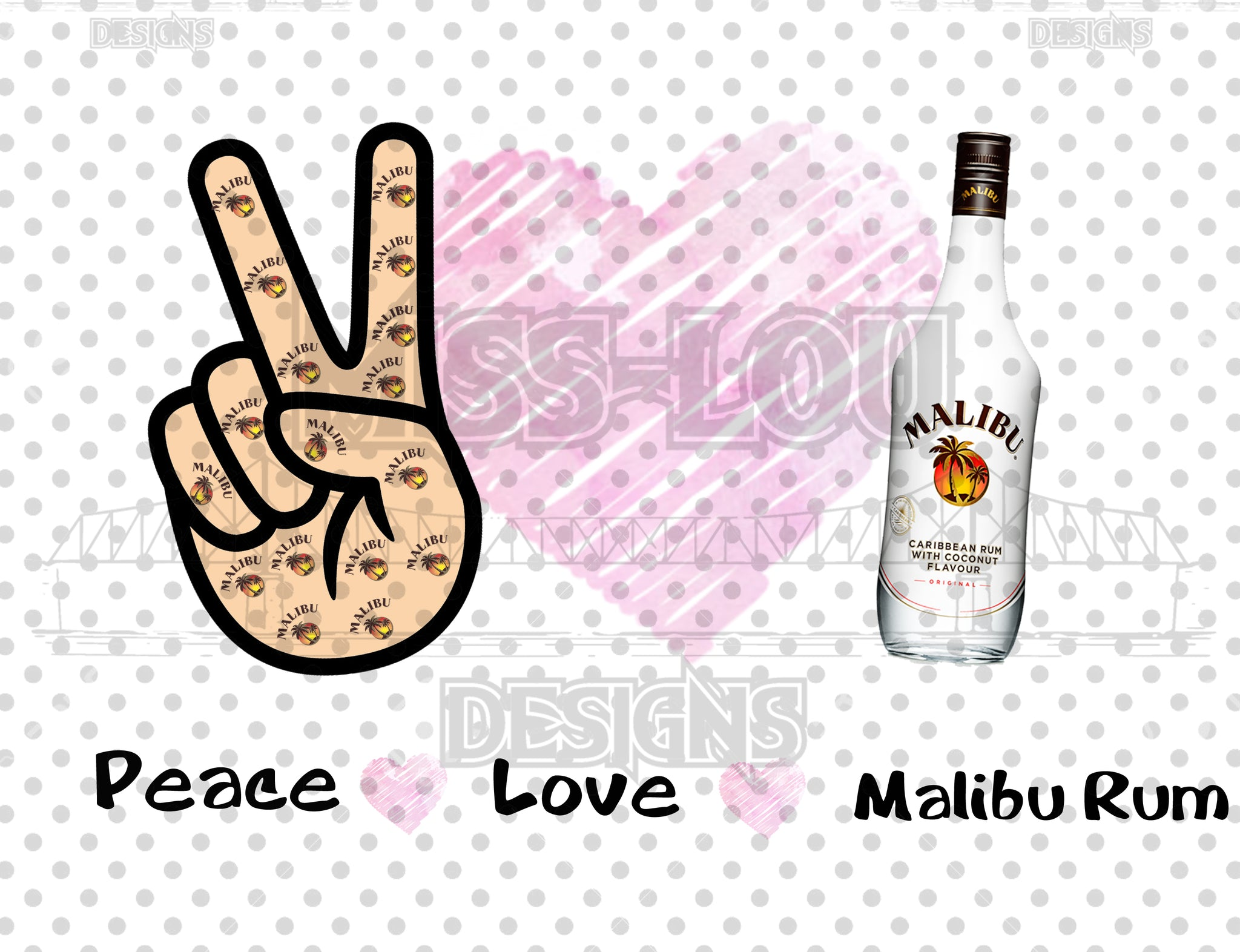Peace Love Malibu Rum Digital Download