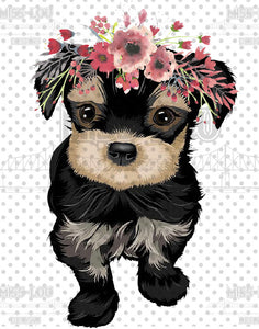 Pup with Flowers Digital Download