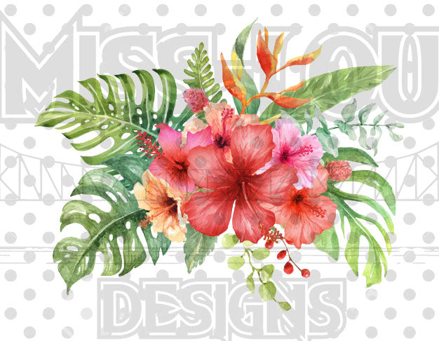 Watercolor Hibiscus Flower Waterslide