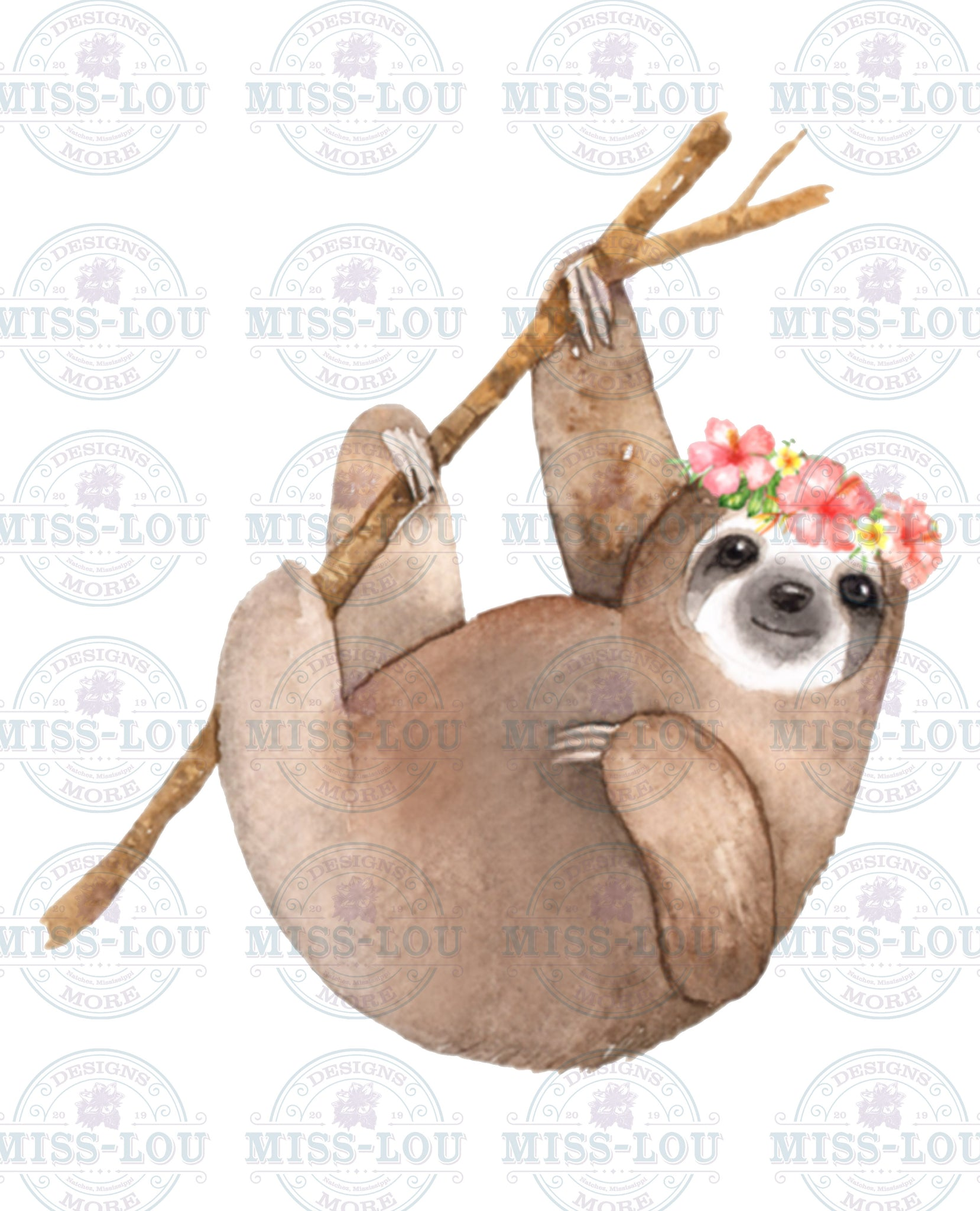 Watercolor Sloth Waterslide