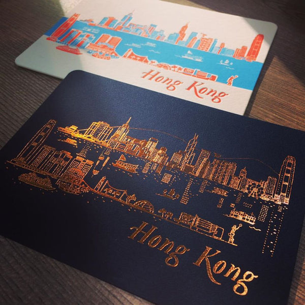 "Hong Kong Letterpress Postcard - ""Hong Kong Skyline Day & Night"""