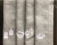 Grey Linen Placemat Set with Embroidery