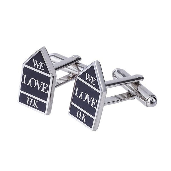 Sign of Water Supplies Department / We love HK Cufflinks (Black Sign)