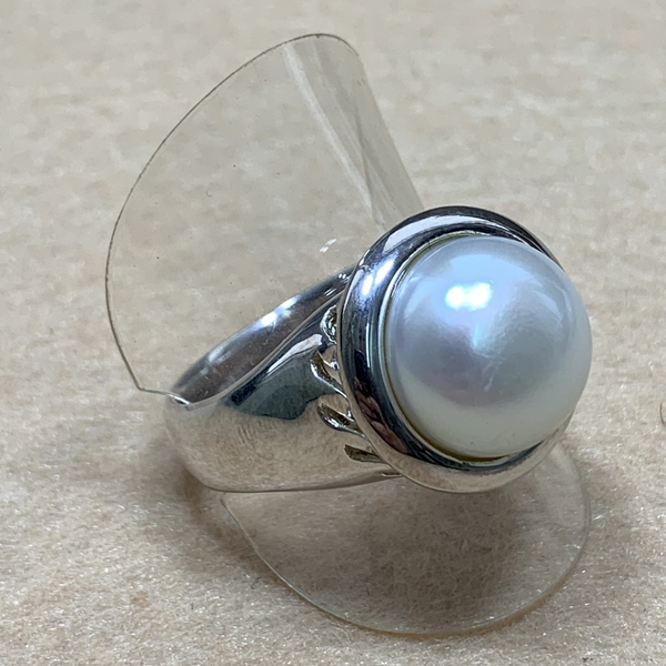 Culturally Crafted - Be the Light White Mabe Pearl Silver Ring (pick up at store only)