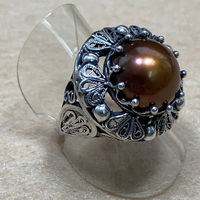 Culturally Crafted - Be the Light Chocolate Mabe Pearl Silver Ring (pick up at store only)