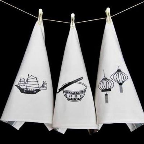 Tea Towels Icon Hong Kong - Grey