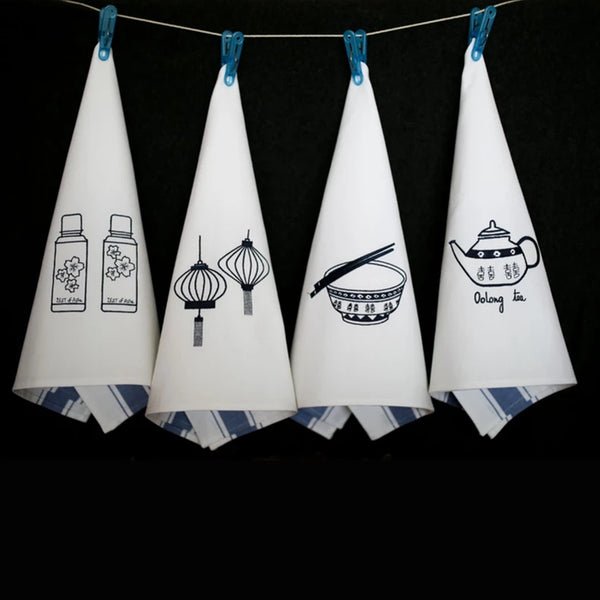 Tea Towels Icon Hong Kong - Blue