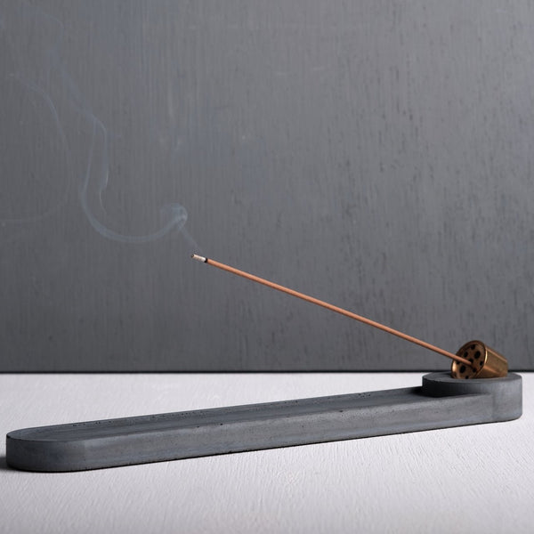 Concrete Long+Round-shaped Incense Holder