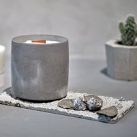 Concrete Cup with Wood Wick Candle