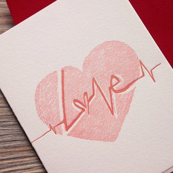 Letterpress Greeting Card - For Love 2