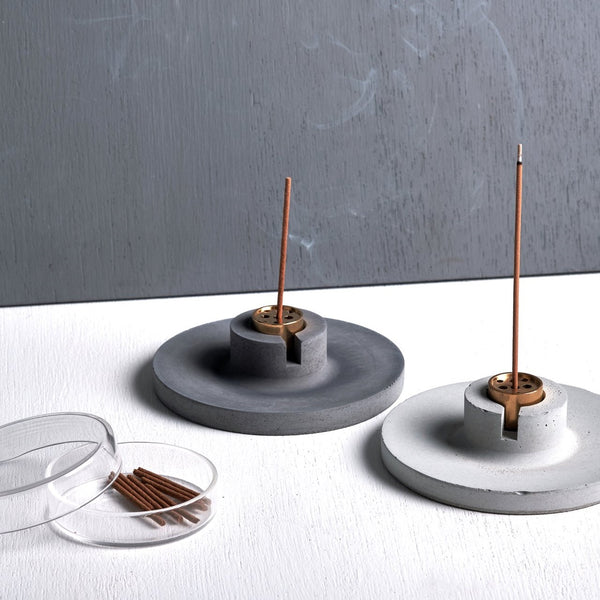 Concrete Disc-shaped Incense Holder