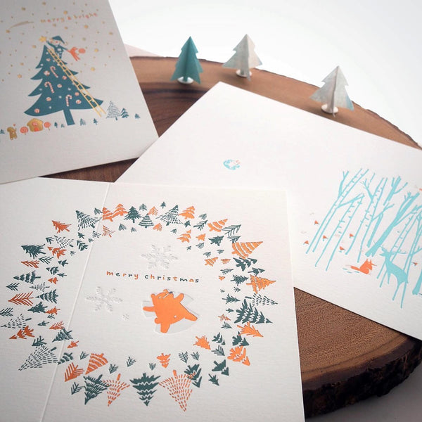 Letterpress Greeting Card - For Christmas 1