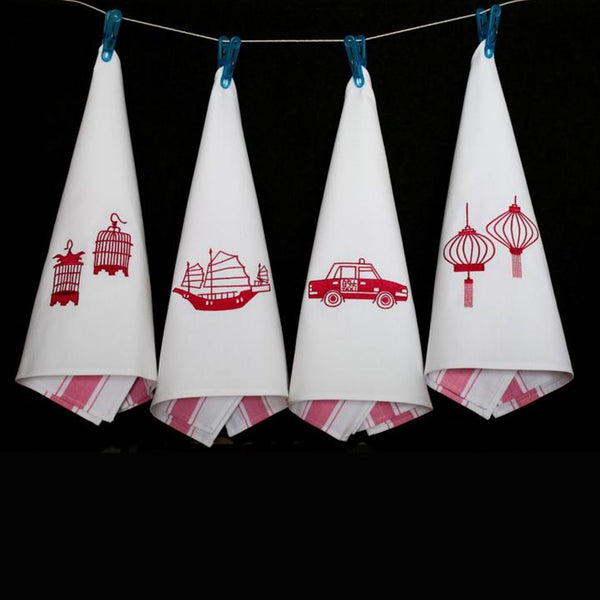 Tea Towels Icon Hong Kong - Red