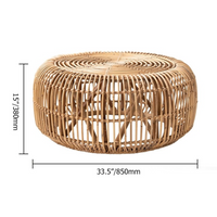 Hand-Woven Round Rattan Coffee Table