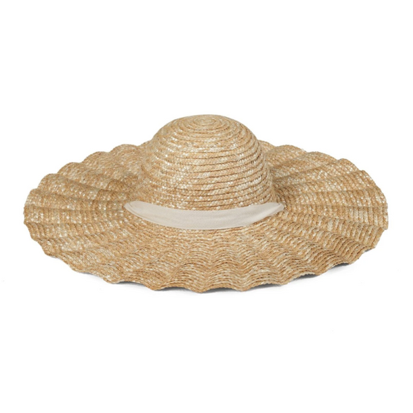 Scalloped Natural Hat - White Ribbon